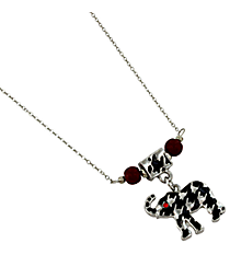 "18"" Houndstooth Elephant Pendant Necklace #UN8289-RED"