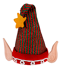 Red and Green Striped Musical Motion Elf Hat #81133-RD/GR-STR