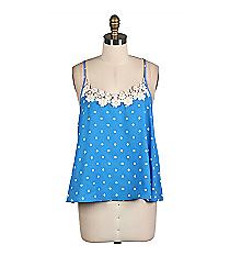 Light Blue and White Polka Dot Crochet Trimmed Cami #EM1554-LTBLUE *Choose Your Size
