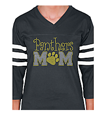 Team Mom and Paw Print Ladies Football Tee SP47