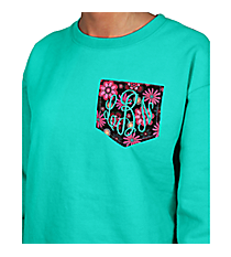 Monogrammed Pocket Applique Ladies Relaxed Fit Boxy Crew Sweatshirt *Customizable!