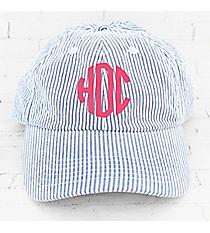 Blue and White Seersucker Cap #F0303