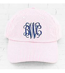 Pink and White Seersucker Cap #F0303