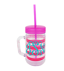 Pink Preppy Stripe 22oz Double Wall Mason Jar with Straw #F125930