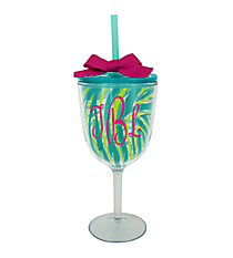 Turquoise Zebra 13 oz. Double Wall Wine Glass with Straw #F125973