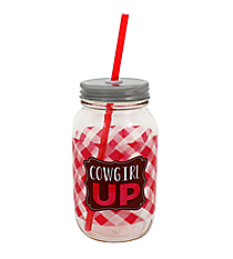 """Cowgirl Up"" 24oz Glass Mason Jar with Straw #F139384"