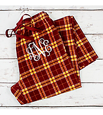 Garnet and Gold Plaid Flannel Pajama Pant #F20MG *Personalize It