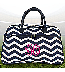 Navy and White Chevron Large Bowler Bag #F2014-165-N/W