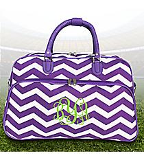 Purple and White Chevron Large Bowler Bag #F2014-165-AP/W