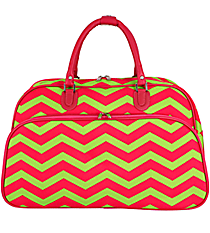 Fuchsia and Lime Green Chevron Large Bowler Bag #F2014-165-F/G