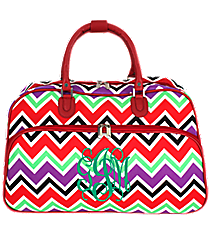 Red and Purple Chevron Large Bowler Bag with Red Trim #F2014-170