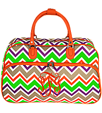 Lime Green and Khaki Chevron Large Bowler Bag with Orange Trim #F2014-171