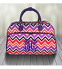 Purple and Fuchsia Chevron Large Bowler Bag with Purple Trim #F2014-172