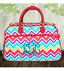 Pink and Light Blue Chevron Chevron Large Bowler Bag with Pink Trim #F2014-173