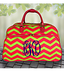 "21"" Fuchsia and Lime Green Chevron Rolling Duffle Bag #T12022-165-F/G"