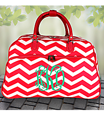 "21"" Fuchsia and White Chevron Rolling Duffle Bag #T12022-165-F/W"