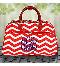 "21"" Red and White Chevron Rolling Duffle Bag #T12022-165-R/W"