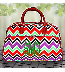 "21"" Red and Purple Chevron with Red Trim Rolling Duffle Bag #T12022-170"