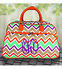 "21"" Lime Green and Khaki Chevron with Orange Trim Rolling Duffle Bag #T12022-171"
