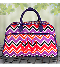 "21"" Purple and Fuchsia Chevron with Purple Trim Rolling Duffle Bag #T12022-172"