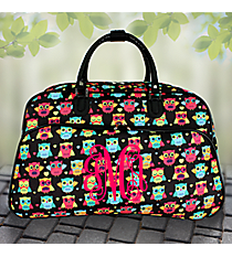 "21"" Neon Owl and Hearts Rolling Duffle Bag #T12022-175"