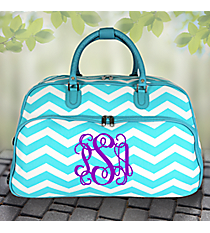 "21"" Light Blue and White Chevron Rolling Duffle Bag #T12022-165-LT/W"