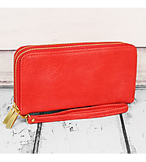 Red Faux Leather Organizer Clutch Wallet #F805-RED