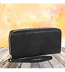 Black Leather Organizer Clutch Wallet #F805-BLACK