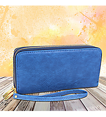 Royal Blue Leather Organizer Clutch Wallet #F805-BLUE