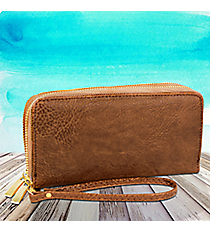 Coffee Leather Organizer Clutch Wallet #F805-COFFEE