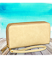 Cream Leather Organizer Clutch Wallet #F805-CREAM