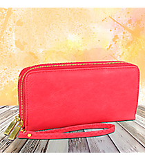 Hot Pink Leather Organizer Clutch Wallet #F805-HOTPINK