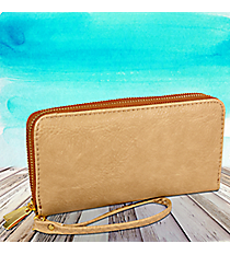 Tan Leather Organizer Clutch Wallet #F805-TAN