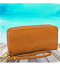 Toffee Leather Organizer Clutch Wallet #F805-TOFFEE