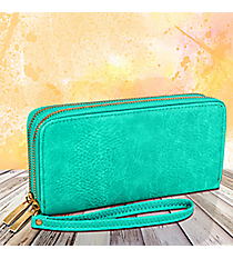 Turquoise Leather Organizer Clutch Wallet #F805-TURQ