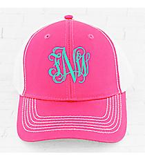 Neon Pink and White Fairway Cap #FA102