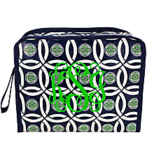 Navy and Green Full Circle Head Shot Cosmetic Bag #FC-HS-000254