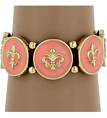 Peach and Goldtone Fleur De Lis Stretch Bracelet #KMB0126-GDPE