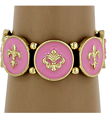 Pink and Goldtone Fleur De Lis Stretch Bracelet #KMB0126-GDPK