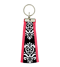 Black and White Damask with Pink Trim Wristlet Key Fob #FOB-BW