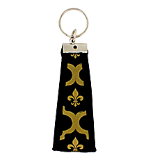 Black and Gold Fleur de Lis Wristlet Key Fob #FOB-FDL
