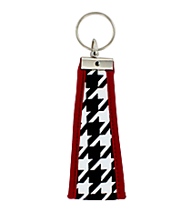 Houndstooth with Crimson Trim Wristlet Key Fob #FOB-HT