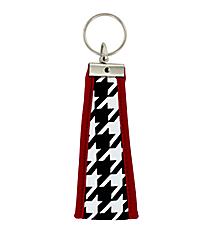 Houndstooth with Crimson Trim Wristlet Key Fob #FOB-HT