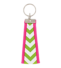 Lime and White Chevron with Pink Trim Wristlet Key Fob #FOB-LIMEZZ
