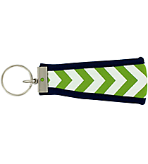 Lime and White Chevron with Navy Wristlet Key Fob #FOB-LMNV