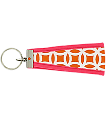 Orange and White Interlocking Circles with Pink Wristlet Key Fob #FOB-ORPK