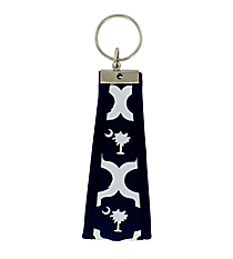 Navy and White Palmetto Wristlet Key Fob #FOB-PALM
