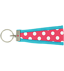 Pink and White Polka Dots with Turquoise Wristlet Key Fob #FOB-PKTQ