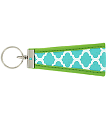 Turquoise and White Geometric Print with Lime Wristlet Key Fob #FOB-TQLM