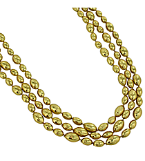 12 Gold Football Bead Necklaces #24/2175